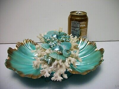 Turquoise Seashell Bowl Shell Ocean Beach House Decor Gold Accents White Coral