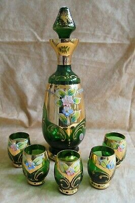Vintage Hand Painted Fidenza Glass Decanter with 5 Matching Glasses