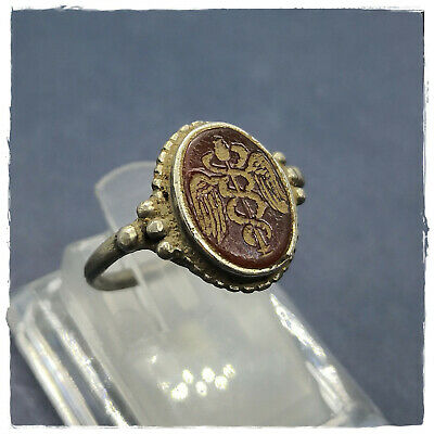 ** Caduceus **Ancient INTAGLIO SILVER Greek-Roman Ring  !!! 3,67g