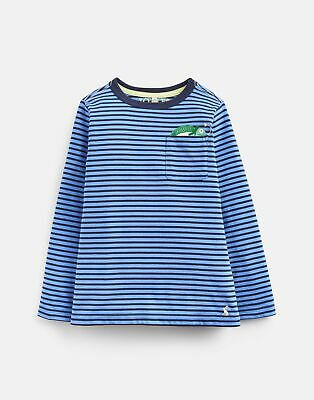 Joules Boys Winston Peeker Pocket T Shirt  - BLUE STRIPE CHAMELEON POCKET