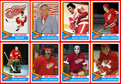 1974-75 DETROIT RED WINGS High Grade Hockey Card Style PHOTO CARDS  U-Pick THICK