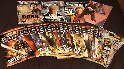 Dr Who Official Joblot 3 Mags, 1 Poster, 4 Postcards & 18 Battles In Time Mags