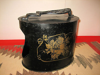 Antique Oval Toleware Tin Shoe Stand Box Gold Floral Stencil Cast Iron Foot Rest