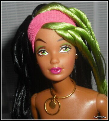 Nude Barbie Raven Green Hair 1 Modern Circle Articulated Nostalgic Doll For Ooak