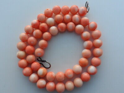 Vintage Superb Carved Chinese Salmon Pink Coral Round Bead Necklace 53 Grams