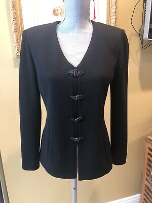 St. John Evening  Black Knit Jacket w/ Removable Ivory Satin Collar sz 6, WOW!