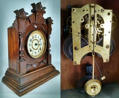 RARE ANSONIA MANTEL CLOCK antique carved oak gingerbread key pendulum RUNS
