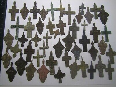 Metal detector finds.Mix lot ancient crosses (17-19 th century) 50 pieces.
