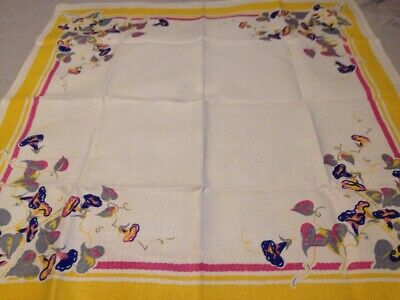 Vintage Floral Card table Tablecloth 34 X 36 Exc 1940s
