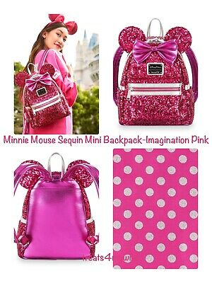 NWT! LOUNGEFLY Disney Parks MINNIE MOUSE SEQUIN~IMAGINATION PINK Mini Backpack