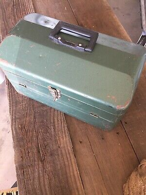 Vintage Maker Unknown Steel Cantilever Tackle  Box Chest Metal Fishing