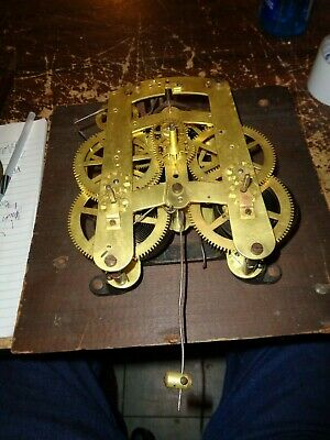 Large-Antique-Seth Thomas-Clock Movement & Engine Turned Pendulum Bob-#T612