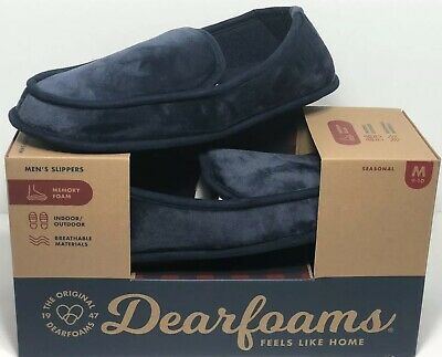 Dearfoams Mens Slippers Navy Size M 9-10 Washable $38