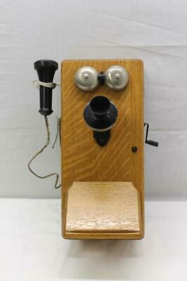collectible vintage stromberg carlson oak wall mount telephone