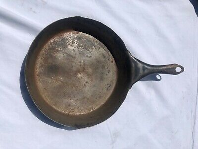 Vintage Steel Cowboy Camp Skillet Frying Pan 10 1/2 inch - Solid Steel Farmhouse