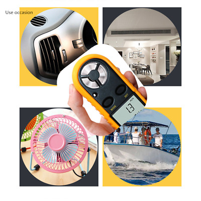 Portable LCD Wind Speed Gauge Air Velocity Meter Digital Anemometer Thermometer