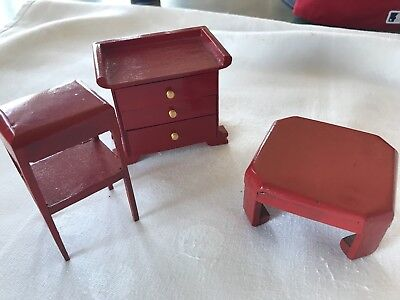 Dollhouse Miniature Wooden Furniture Lot Dresser Stand Side Table (B3)