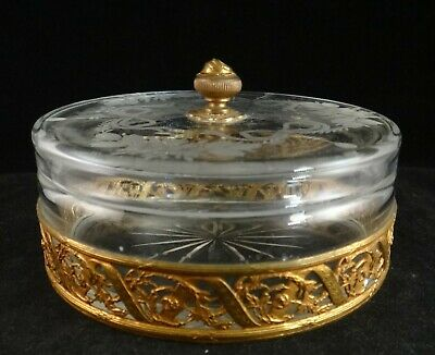 Vintage Louis XVI Style Vanity Jar, French cut/etched glass, gilded holder, 4 ¾'