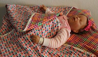 Handmade Reversible Double Flannel Baby Girl Machine Quilted Blanket Quilt