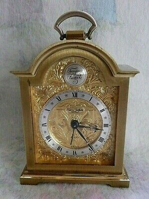 Vintage Swiss Made Tempus Fugit Swiza Sheffield Gold Tone Brass Clock Alarm