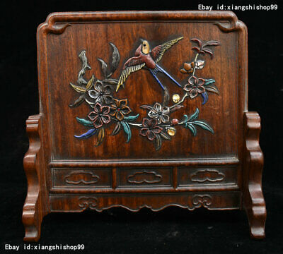 Old Rare China HuangHuaLi Wood Inlay Gem handicraft Bird Flowers pattern Screen