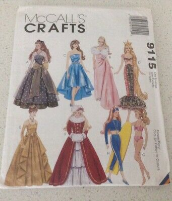 McCalls Sewing Pattern 9115 Fashion Dolls Clothes Barbie to fit  11.½ in 29cm