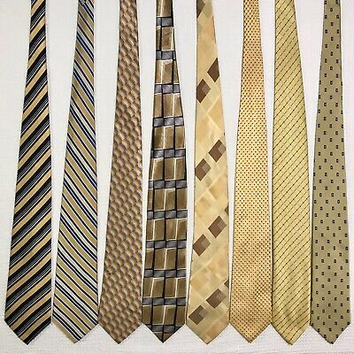8 Men's Ties ALL LONG Yellow Gold Jones NY Brooks Bros Beene Vtg Silk Tie Lot