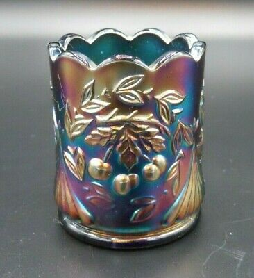 Mint Blue Carnival Glass S.c.g.c. Wreathed Cherry Toothpick Holder