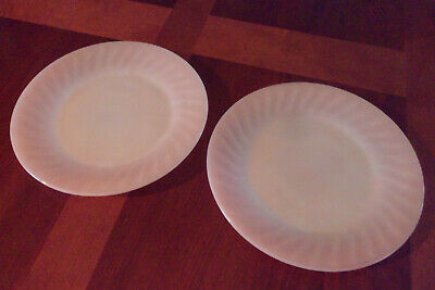 "Pair of Vintage Fire King Oven Ware Milk Glass 9"" Plates Swirl Rose Rim"