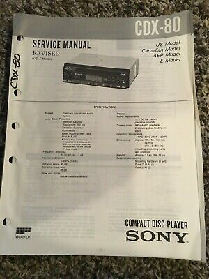 Original Sony Service Manual for CDX-80 Compact Disc Player Car Auto (Revised)