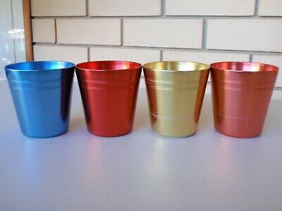 Set Of 4 Vintage Retro Anodised Cups - Peacock Ware Aust