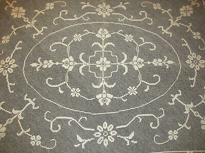 """Vintage Italian Filet Lace Knotted Net Tablecloth Coverlet 60"""" x 76"""""""