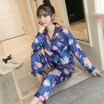 Women's Pajamas Set Silk Satin Long Sleeve Button-Down Sleepwear Homewear Pyjama