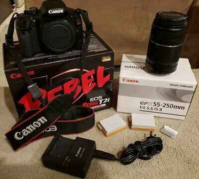 Canon EOS Rebel T2i 18.0MP DSLR Camera w/ EFS 55-250mm lens, 2 batteries,64GB-SD