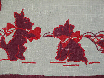 "Vintage Printed SCOTTIE DOG Card Tablecloth 29"" x 30"""