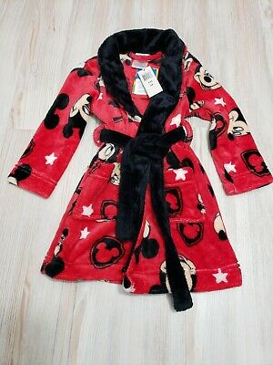 Disney Toddler Belted Robe Size 3T Mickey Mouse Heads Red Black Soft Comfy