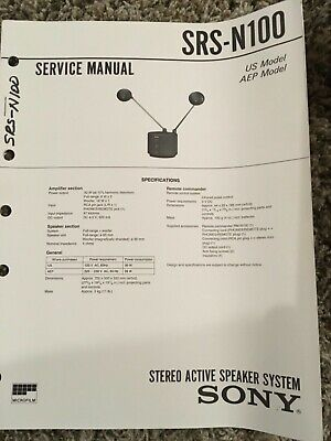 Original Sony SRS-N100 Stereo Active Speaker System Service Manual