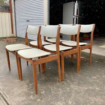 6 wooden dining chairs mid century retro vintage cream