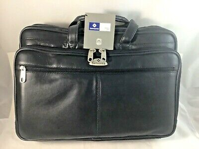 Samsonite Leather Portfolio Bag Black Model No. 921445/Black NWT No Box