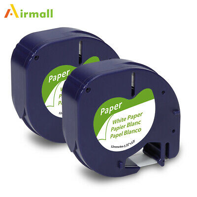 2Pack 91330 Replace DYMO LetraTag Labeling Refills Self-Adhesive Paper Tape 12mm