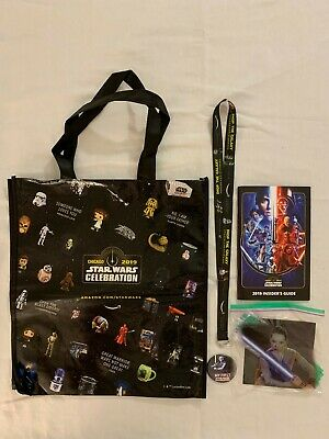 Swcc 2019~Lot Of 5 Star Wars Swag Items~Bag,Button,Insiders Guide,Lanyard & More