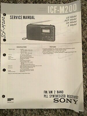 Original Sony Service Manual ICF-M200 FM/AM 2 Band PLL Synthesized Receiver