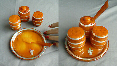 CAT Bakelit Catalin Set Salz Pfeffer Senf Menagerie Art Deco Bernstein Optik