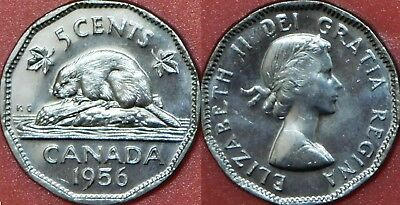 Brilliant Uncirculated 1956 Canada 5 Cents From Mint's Roll