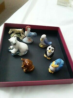 Collection of 7 Vintage Porcelain WADE WHIMSIES -  mixed