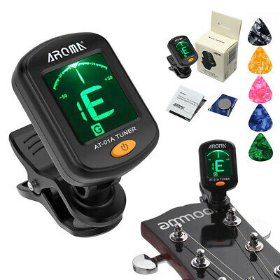 AROMA Clip on Digital Guitar Bass Ukulele Chromatic Violin LCD Tuner w/ 5 Picks