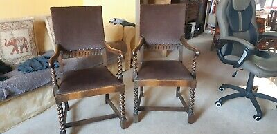2 Vintage Carved Oak Carver Dining Chairs - brown seat and back
