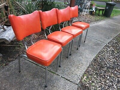 4 X Orange Retro Vintage Mid century Chrome & Vinyl Dining chairs