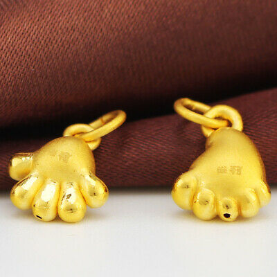 Best Gift Pure 999 24K Yellow Gold Pendant Women 3D Foot And Hand Pendant