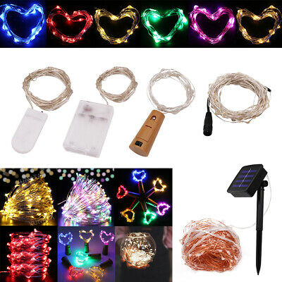 2m-50m LED fairy String Lights Cork/Battery/Solar/Plug-in Powered Silver Wire